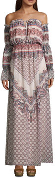 As U Wish Long Sleeve Paisley Maxi Dress-Juniors