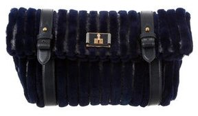 Marc Jacobs Fur & Python Flap Clutch - BLUE - STYLE