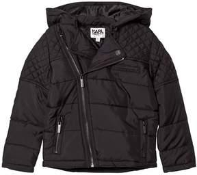 Karl Lagerfeld Black Quilted Biker Puffer Coat