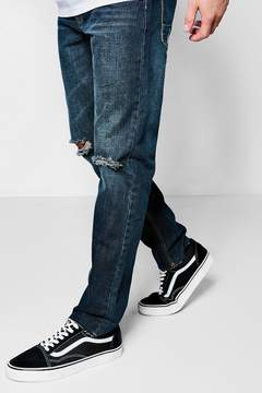 boohoo Slim Fit Jeans With Ripped Knee And Raw Hem