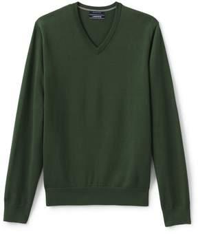 Lands' End Lands'end Men's Tall Classic Fit Fine Gauge Supima Cotton V-neck Sweater