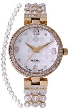 Croton Ladies Goldtone Mother of Pearl Dial Watch with Crystal Bezel & Bracelet Set