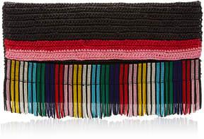 Sensi Studio Multicolored Frayed Straw Bag