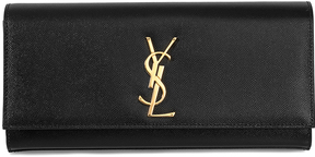 Saint Laurent Black Kate Textured Leather Clutch - BLACK - STYLE