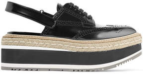 Prada Leather Platform Slingback Brogues - Black