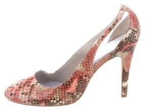 Delman Embossed Cutout Pumps