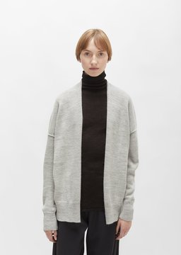 LAUREN MANOOGIAN Alpaca Simple Cardigan Light Grey Size: 2