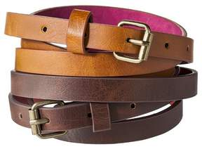 Mossimo Women's Two Pack Skinny Belt - Brown