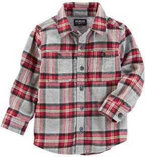 Osh Kosh Toddler Boy Flannel Twill Plaid Shirt