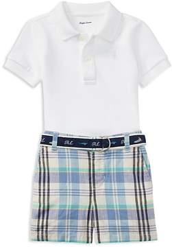 Ralph Lauren Boys' Basic Mesh Polo, Madras Shorts & Belt Set - Baby