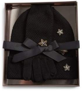 BCBGMAXAZRIA Three-Piece Stars Merino Gloves and Hat Set