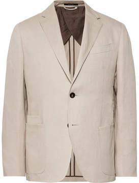 Ermenegildo Zegna Beige Silk And Linen-Blend Blazer