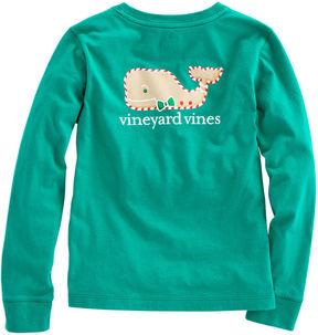 Vineyard Vines Girls Long-Sleeve Gingerbread Whale Pocket Tee