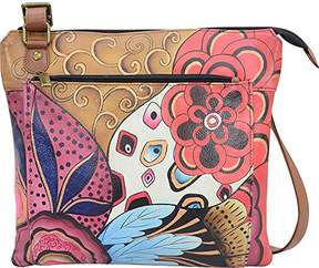 Anuschka Anna by Women's Genuine Leather Medium Multi-Compartment Cross Body | Zip-Top Organizer with Large Outside Zip-Pocket | Tribal Potpourri
