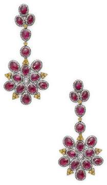 Artisan Women's Floral Shape Ruby and Diamond Earring