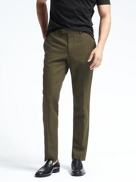 Banana Republic Standard Olive Cotton Linen Suit Trouser