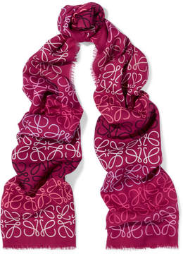 Loewe Printed Wool, Silk And Cashmere-blend Scarf - Fuchsia