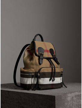Burberry The Medium Rucksack in Canvas Check and Leather - BLACK - STYLE