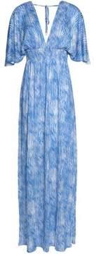 Melissa Odabash Shirred Printed Voile Maxi Dress