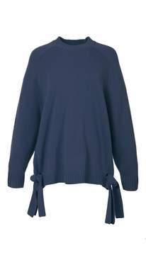 Tibi Cashmere Crewneck Tie Detail Sweater