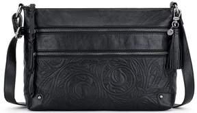 The Sak Lanie Tasseled 3-Zip Embossed Cross-Body Bag