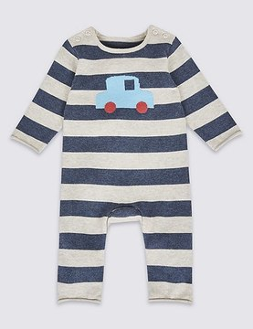 Marks and Spencer Pure Cotton Car Print Knitted All in One