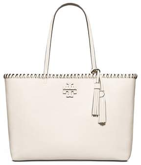 Tory Burch McGraw Whipstitch Leather Tote - WHITE - STYLE