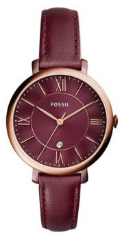 Fossil Jacqueline Rose Goldtone Stainless Steel and Leather Strap Watch, ES4099