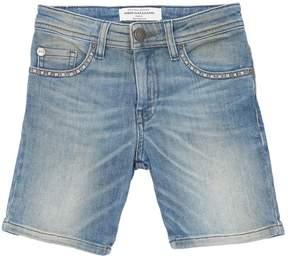 John Galliano Studded Cotton Denim Shorts