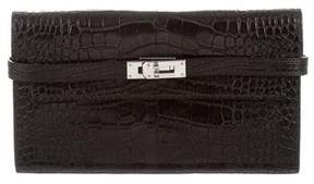 Hermes Alligator Kelly Longue Wallet - BLACK - STYLE
