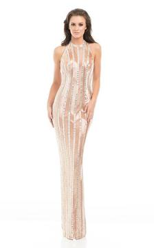 Johnathan Kayne 7061 Shimmering Sequin Patterned Evening Gown