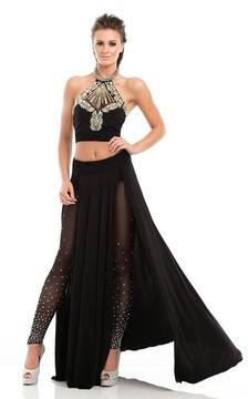 Johnathan Kayne 7053 Two-Piece Sparkling Halter with Leggings