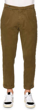 Palm Angels Classic Washed Trousers with Side-Stripe, Military Green