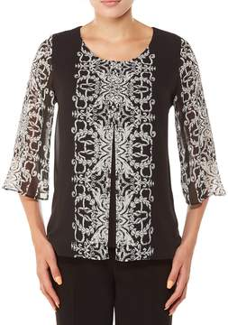 Allison Daley 3/4 Bell Sleeve Scroll Medallion Print Layered Chiffon Top