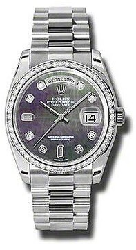 Rolex Day-Date Black Mother Of Pearl Dial Platinum President Automatic Ladies Watch