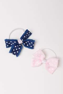 H&M 2-pack Hair Elastics with Bow - Pink