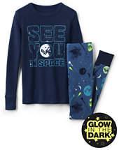 Lands' End Boys Glow-in-Dark Knit Snug Fit PJ Set-Aurora Blue Stripe