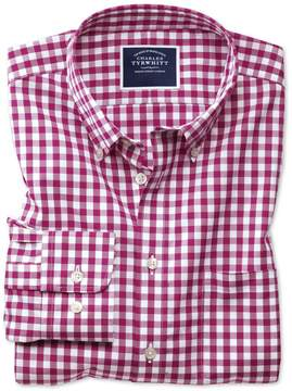 Charles Tyrwhitt Extra Slim Fit Button-Down Non-Iron Poplin Red Gingham Cotton Casual Shirt Single Cuff Size Large
