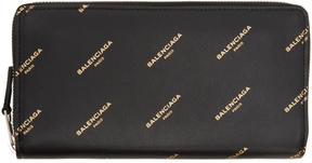 Balenciaga Black Bazar Continental Zip Around Wallet