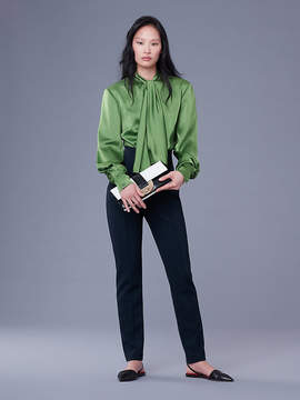 Diane von Furstenberg High Neck Satin Bow Blouse