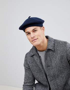 Asos DESIGN Beret In Navy