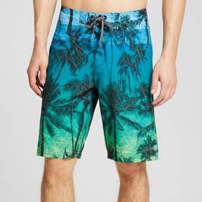 Ocean Current Men's Tropical Allover Print Board Shorts Green