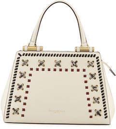 Donna Karan Medium Whipstitched Leather Satchel Bag