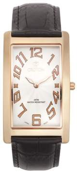 Croton Men's Aristocrat Rosetone Curved Rectangular Stainless Watch with White Dial
