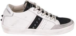 Leather Crown Stud Paneled Sneakers
