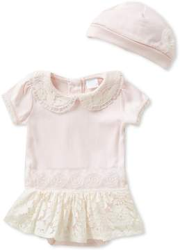 Edgehill Collection Baby Girls Newborn-6 Months Tutu Lace-Trim Bodysuit and Hat Set