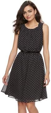 Elle Women's Print Pleated Fit & Flare Dress