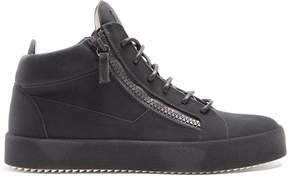 Giuseppe Zanotti Ricamo mid-top flocked-leather trainers