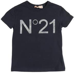 N°21 Glittered Printed Cotton Jersey T-Shirt