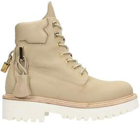 Buscemi Nude Cotton And Leather Canvas Site Boots